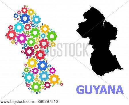 Vector Mosaic Map Of Guyana Created For Engineering. Mosaic Map Of Guyana Is Formed Of Random Bright