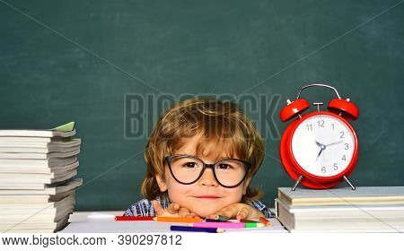 Time To Learn Concept. Learning Concept. Educational Process. Kids Being Late For Lesson