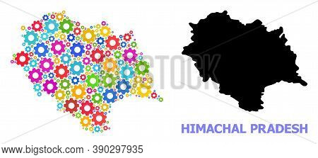 Vector Composition Map Of Himachal Pradesh State Organized For Engineering. Mosaic Map Of Himachal P