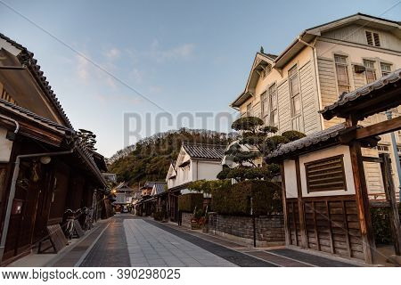 Hiroshima Prefecture, Japan - Jan 03 2019 : Takehara Townscape Conservation Area In Dusk. The Street