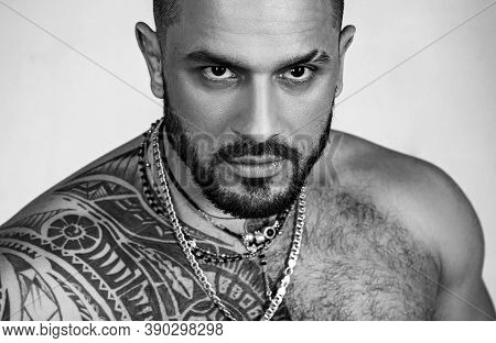 Sexy Abs Of Tattoo Man. Male Fashion. Muscular Macho Man With Athletic Body. Confidence Charisma. Sp