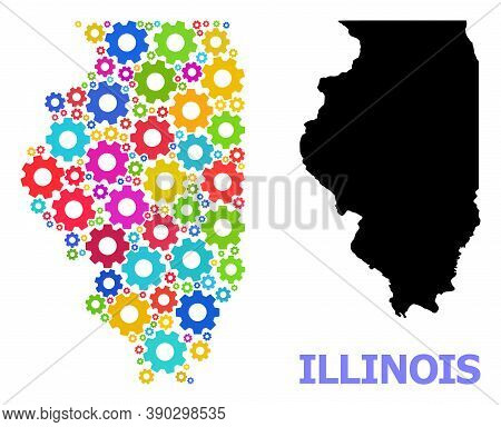 Vector Composition Map Of Illinois State Combined For Engineering. Mosaic Map Of Illinois State Is C