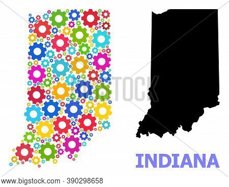 Vector Mosaic Map Of Indiana State Designed For Engineering. Mosaic Map Of Indiana State Is Construc