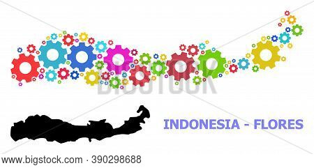 Vector Mosaic Map Of Indonesia - Flores Island Done For Industrial Apps. Mosaic Map Of Indonesia - F