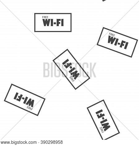 Wifi Vector Icon. Wi-fi Logo Illustration Seamless Pattern On A White Background.