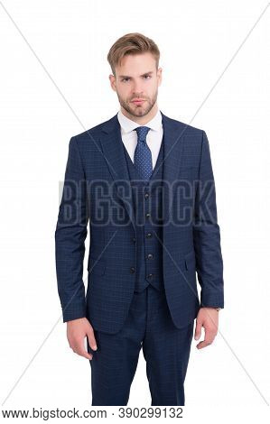 Professional Manner And Smart Appearance. Handsome Man In Business Suit Isolated On White. White Col