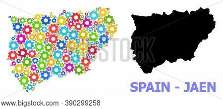 Vector Mosaic Map Of Jaen Spanish Province Combined For Engineering. Mosaic Map Of Jaen Spanish Prov