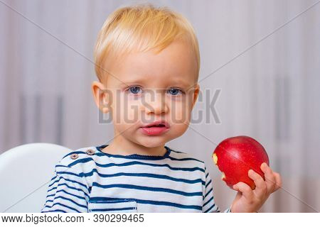 Boy Cute Baby Eating Breakfast. Baby Nutrition. Eat Healthy. Toddler Having Snack. Healthy Nutrition