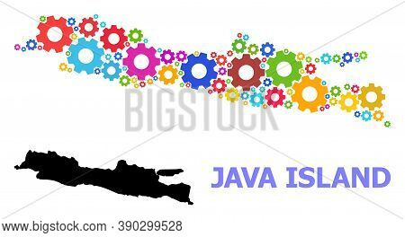 Vector Mosaic Map Of Java Island Done For Workshops. Mosaic Map Of Java Island Is Created With Scatt