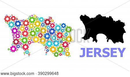Vector Collage Map Of Jersey Island Combined For Engineering. Mosaic Map Of Jersey Island Is Created