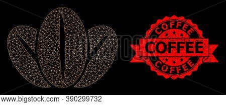 Mesh Web Coffee Beans On A Black Background, And Coffee Dirty Ribbon Stamp Seal. Red Stamp Contains
