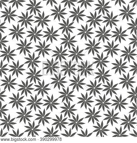 Cannabis Seamless Pattern. Marijuana Leaf, Gray Weed Plant. Hashish Texture, Isolated White Backgrou