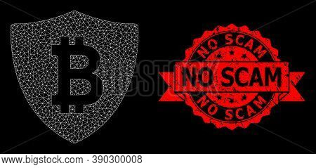 Mesh Network Bitcoin Protection On A Black Background, And No Scam Unclean Ribbon Seal Print. Red St