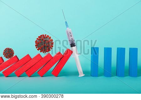 Concept Of Covid19 Coronavirus Pandemic With Falling Chain Like A Domino Game. Contagion And Infecti