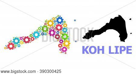 Vector Mosaic Map Of Koh Lipe Constructed For Workshops. Mosaic Map Of Koh Lipe Is Composed From Ran