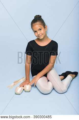 Child Tender Dancer Look Gorgeous Fancy Leotard. Dream Every Girl Become Famous Gymnast. Kid Sit Hol