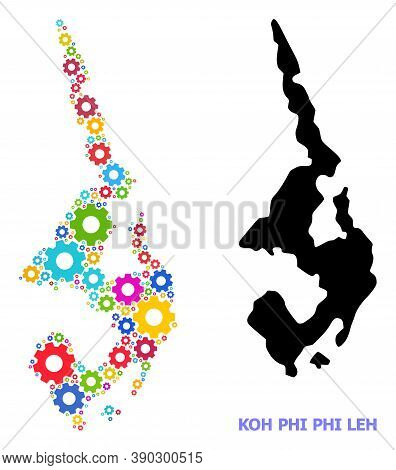 Vector Mosaic Map Of Koh Phi Leh Designed For Engineering. Mosaic Map Of Koh Phi Leh Is Designed Of