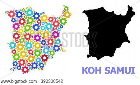 Vector Mosaic Map Of Koh Samui Combined For Services. Mosaic Map Of Koh Samui Is Organized With Scat