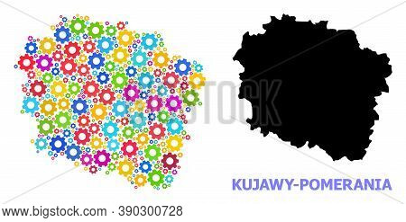 Vector Composition Map Of Kujawy-pomerania Province Constructed For Engineering. Mosaic Map Of Kujaw