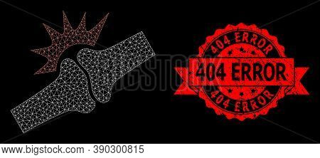 Mesh Net Bone Joint Fracture On A Black Background, And 404 Error Unclean Ribbon Stamp. Red Stamp Ha