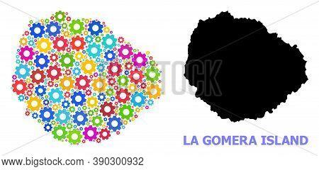 Vector Mosaic Map Of La Gomera Island Combined For Engineering. Mosaic Map Of La Gomera Island Is Sh