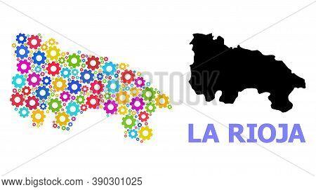 Vector Mosaic Map Of La Rioja Spanish Province Designed For Engineering. Mosaic Map Of La Rioja Span