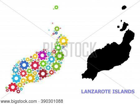 Vector Composition Map Of Lanzarote Islands Combined For Engineering. Mosaic Map Of Lanzarote Island