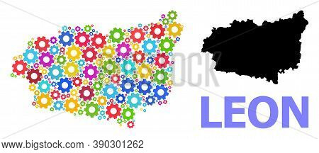 Vector Mosaic Map Of Leon Province Designed For Engineering. Mosaic Map Of Leon Province Is Created