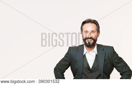 Businessman. Business Fashion And Dress Code. Confident Businessman In Suit. Bearded Happy Man. Male