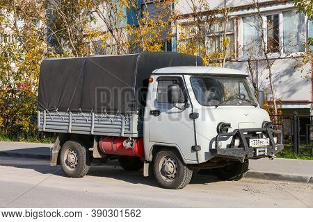 Novyy Urengoy, Russia - September 12, 2020: Compact Flatbed Truck Uaz 33036 In The City Street.