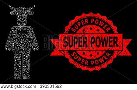 Mesh Polygonal Bull Gentleman On A Black Background, And Super Power Scratched Ribbon Seal. Red Stam