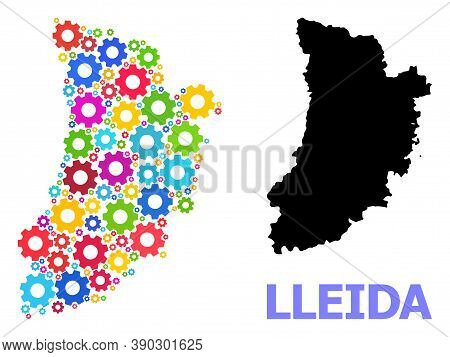 Vector Mosaic Map Of Lleida Province Organized For Mechanics. Mosaic Map Of Lleida Province Is Made