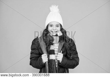 Be Ready For Trendy Style. Happy Girl Smile In Casual Winter Outfit. Trendy Kids Wear. Stylish And T