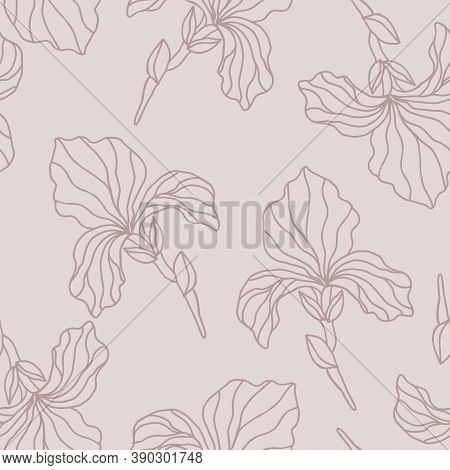 Floral Seamless Pattern With Iris Flowers, Endless Texture, Ink Sketch Art