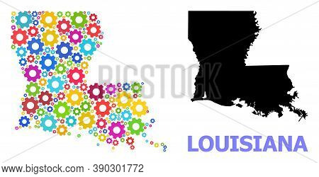 Vector Mosaic Map Of Louisiana State Designed For Mechanics. Mosaic Map Of Louisiana State Is Done W