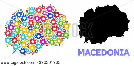 Vector Collage Map Of Macedonia Combined For Services. Mosaic Map Of Macedonia Is Designed From Rand