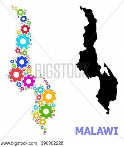 Vector Mosaic Map Of Malawi Constructed For Industrial Apps. Mosaic Map Of Malawi Is Composed With R