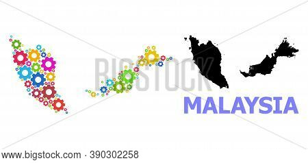 Vector Mosaic Map Of Malaysia Created For Services. Mosaic Map Of Malaysia Is Created Of Randomized