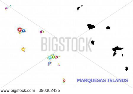 Vector Collage Map Of Marquesas Islands Combined For Engineering. Mosaic Map Of Marquesas Islands Is