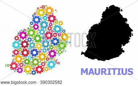 Vector Mosaic Map Of Mauritius Island Constructed For Industrial Apps. Mosaic Map Of Mauritius Islan