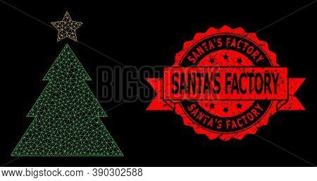 Mesh Polygonal Christmas Tree On A Black Background, And Santas Factory Scratched Ribbon Seal Print.