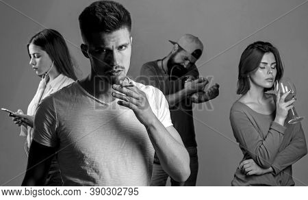 Addictive Group Including Alcohol Cigarettes And Drugs. Stop Smoking Addiction. Human Physiology Con