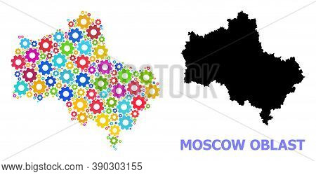 Vector Collage Map Of Moscow Region Created For Engineering. Mosaic Map Of Moscow Region Is Formed F