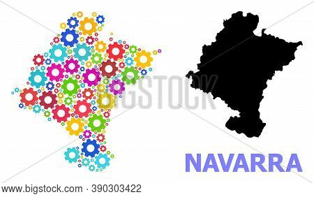 Vector Mosaic Map Of Navarra Province Combined For Services. Mosaic Map Of Navarra Province Is Shape