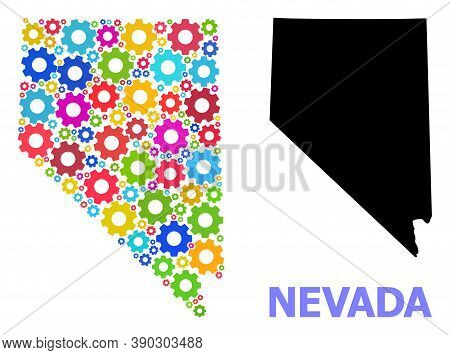Vector Mosaic Map Of Nevada State Created For Engineering. Mosaic Map Of Nevada State Is Done With R