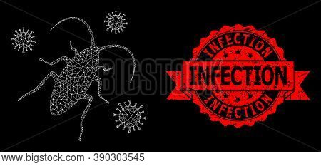 Mesh Network Cockroach Infection On A Black Background, And Infection Dirty Ribbon Seal Imitation. R