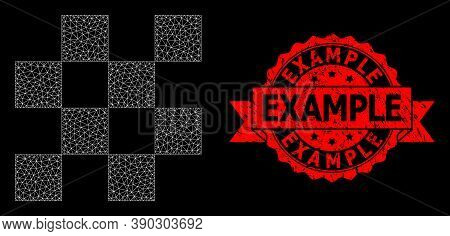 Mesh Network Chess Cells On A Black Background, And Example Rubber Ribbon Stamp. Red Stamp Seal Incl