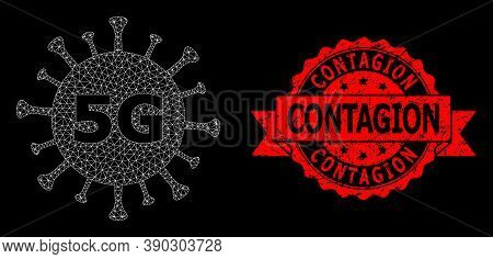 Mesh Polygonal 5g Virus On A Black Background, And Contagion Rubber Ribbon Seal Print. Red Seal Incl