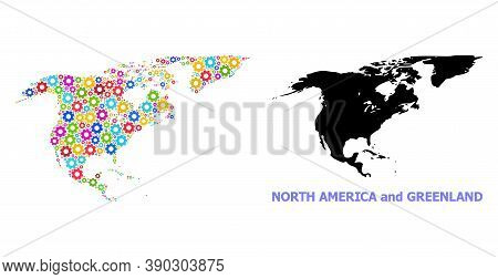 Vector Mosaic Map Of North America And Greenland Combined For Services. Mosaic Map Of North America