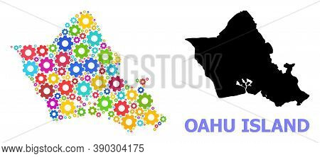 Vector Composition Map Of Oahu Island Organized For Engineering. Mosaic Map Of Oahu Island Is Create